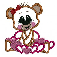 Cute Girl Bear With Hearts Applique Machine Embroidery Design Digitized Pattern