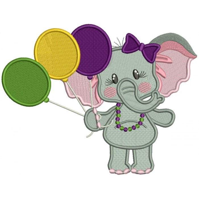 Cute Girl Elephant Holding Balloons Mardi Gras Filled Machine Embroidery Design Digitized Pattern