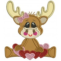 Cute Girl Moose With Lots Of Hearts Applique Machine Embroidery Design Digitized Pattern