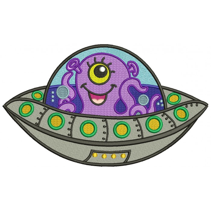 Cute Little Alien In The Space Ship Filled Machine Embroidery Design Digitized Pattern