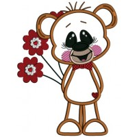 Cute Little Bear Holding Flowers Applique Machine Embroidery Design Digitized Pattern