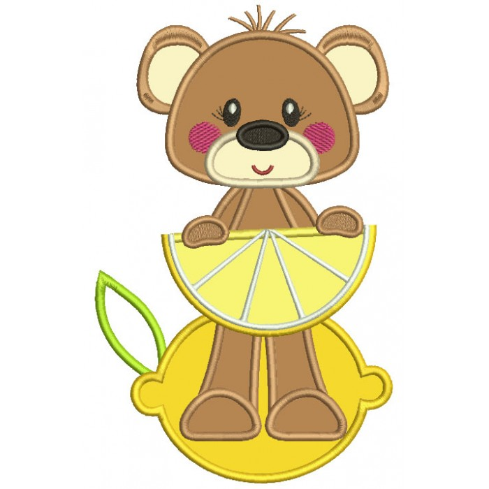 Cute Little Bear Holding Lemon Slice Applique Machine Embroidery Design Digitized Pattern