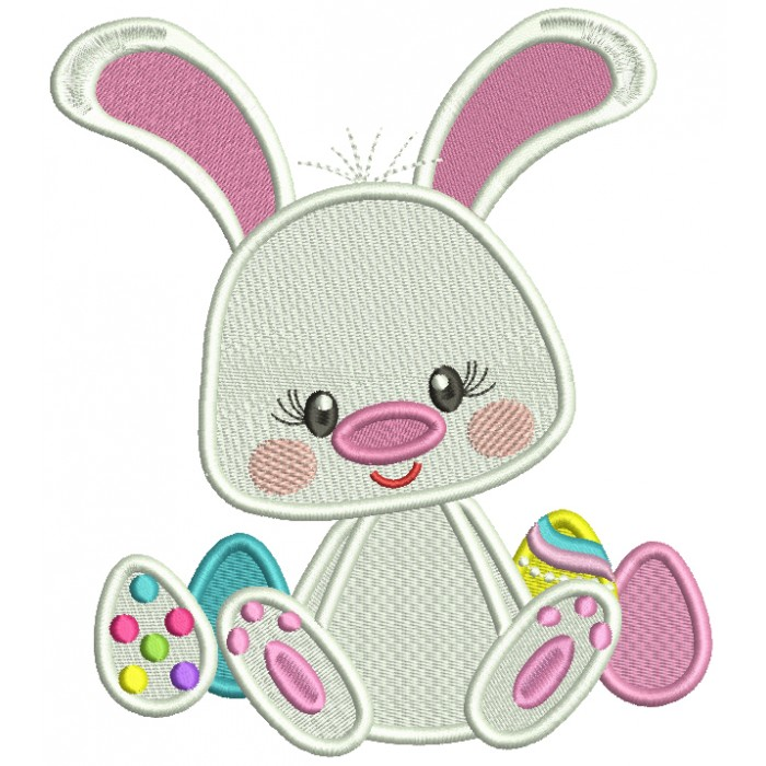 Cute Little Bunny With Easter Eggs Filled Machine Embroidery Design Digitized