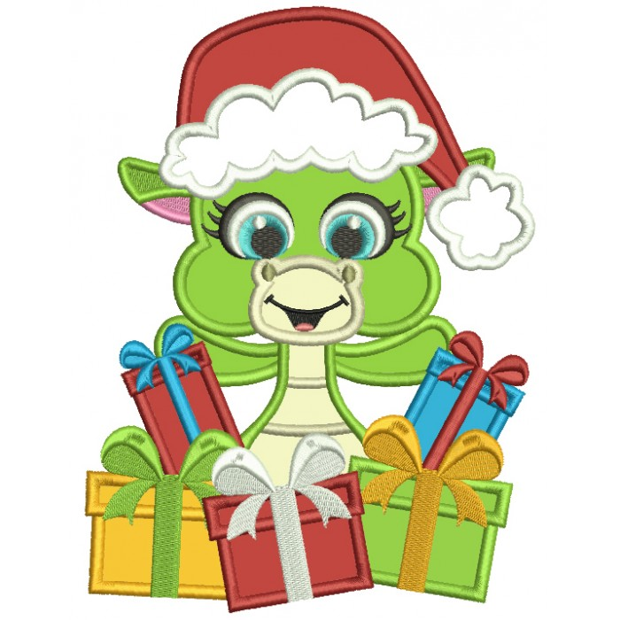 Cute Little Dino Wearing Santa Hat Holding Presents Applique Christmas Machine Embroidery Design Digitized Pattern