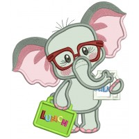 Cute Little Elephant Holding a Lunch Box Back To School Applique Machine Embroidery Design Digitized Pattern