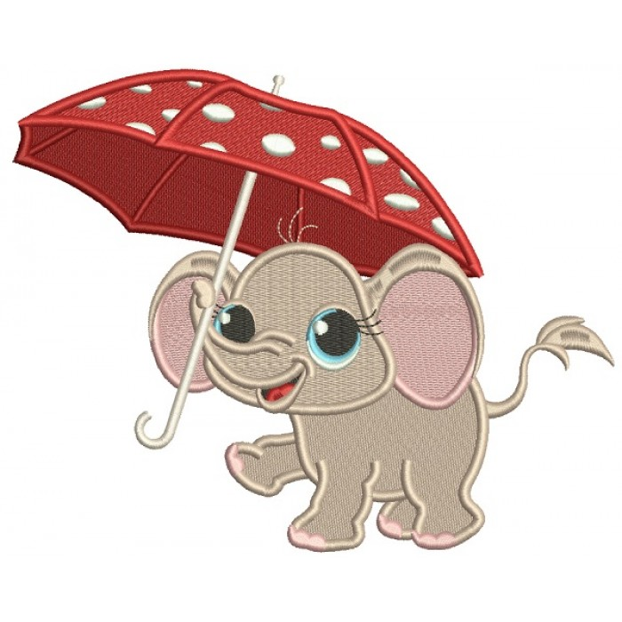Cute Little Elephant Holding an Umbrella Filled Machine Embroidery Design Digitized Pattern