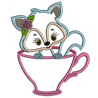 Cute Little Fox Sitting Inside Cup Applique Machine Embroidery Design Digitized Pattern