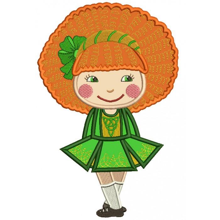 Cute Little Girl With Big Hair St. Patrick's Day Applique Machine Embroidery Design Digitized Pattern