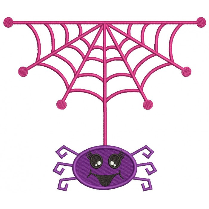 Cute Little Happy Spider Halloween Filled Machine Embroidery Design Digitized Pattern