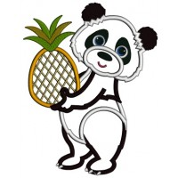 Cute Little Panda Holding a Pinaple Applique Machine Embroidery Design Digitized Pattern