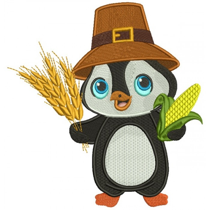 Cute Little Penguin Harvest Thanksgiving Filled Machine Embroidery Design Digitized Pattern