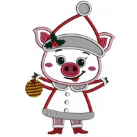 Cute Little Piggy Wearing Santa Hat And Holding Christmas Ornament Applique Machine Embroidery Design Digitized Pattern