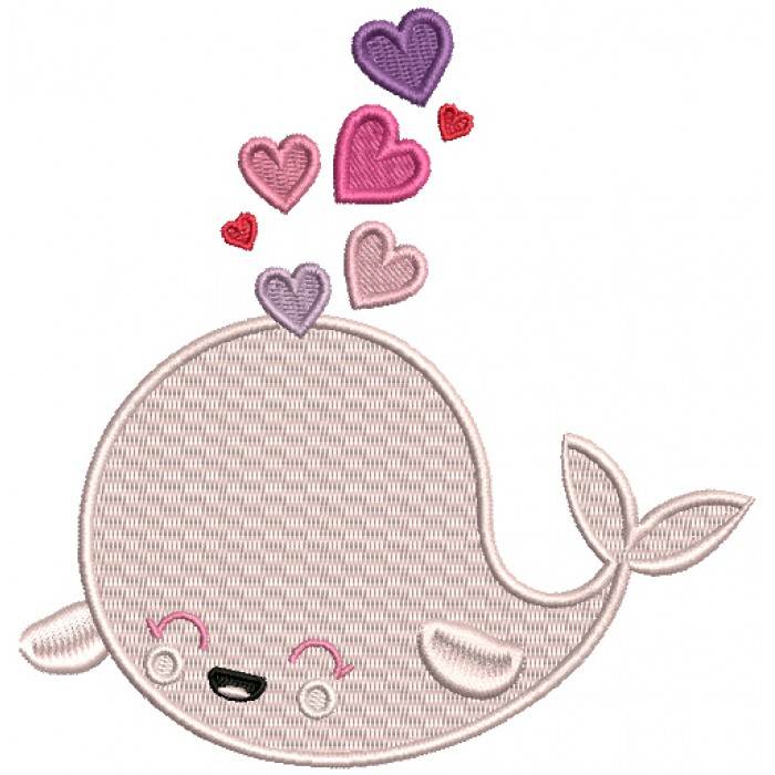 Cute Whale With Hearts Filled Machine Embroidery Design Digitized Pattern