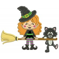 Cute Witch and a Cat Flying a Broom Halloween Applique Machine Embroidery Design Digitized Pattern
