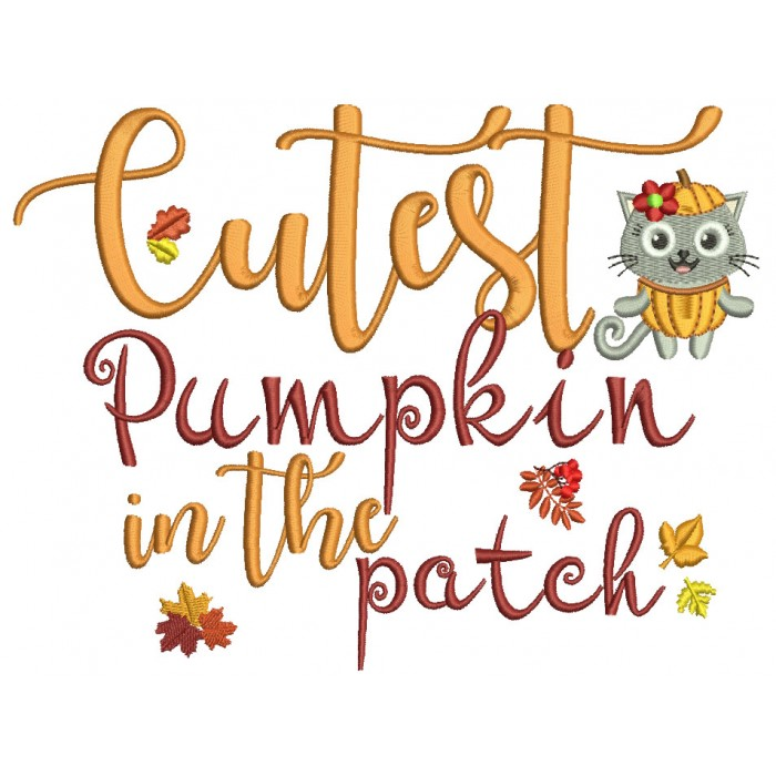 Cutest Pumpkin In The Patch Owl With Autumn Leaves Filled Machine Embroidery Design Digitized Pattern