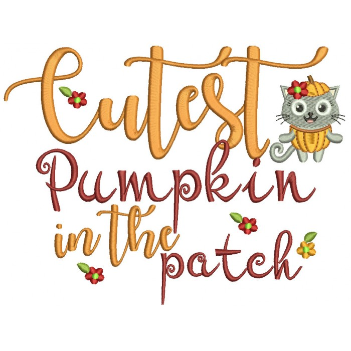 Cutest Pumpkin In The Patch Owl With Flowers Leaves Filled Machine Embroidery Design Digitized Pattern