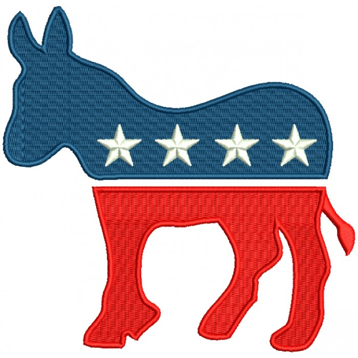 Democratic Party Donkey Political Filled Machine Embroidery Design Digitized