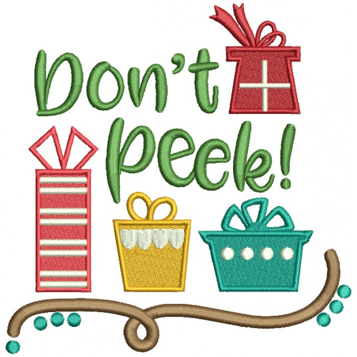 Don't Peek Santa's Presents Christmas Filled Machine Embroidery Design Digitized Pattern