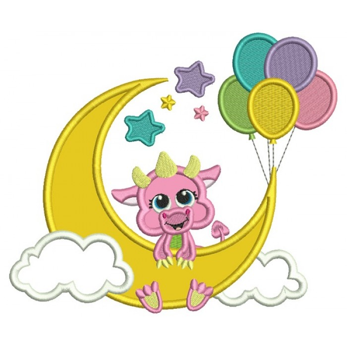 Dragon On The Moon With Balloons Applique Machine Embroidery Digitized Design Pattern