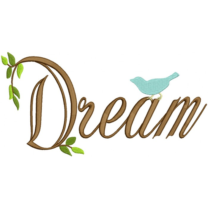 Dream With a Little Bird Filled Machine Embroidery Design Digitized Pattern