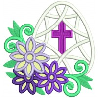 Easter Egg With a Cross And Flowers Applique Machine Embroidery Design Digitized Pattern