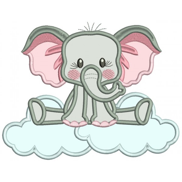 Elephant Sitting On The Cloud Applique Machine Embroidery Design Digitized