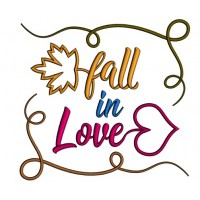 Fall In Love Autumn Leaves Applique Machine Embroidery Design Digitized Pattern