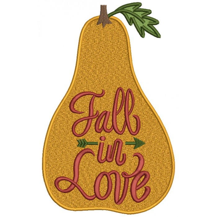 Fall In Love Gourd Fall Filled Machine Embroidery Design Digitized Pattern