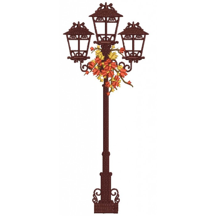 Fall Street Lamp Filled Machine Embroidery Design Digitized Pattern