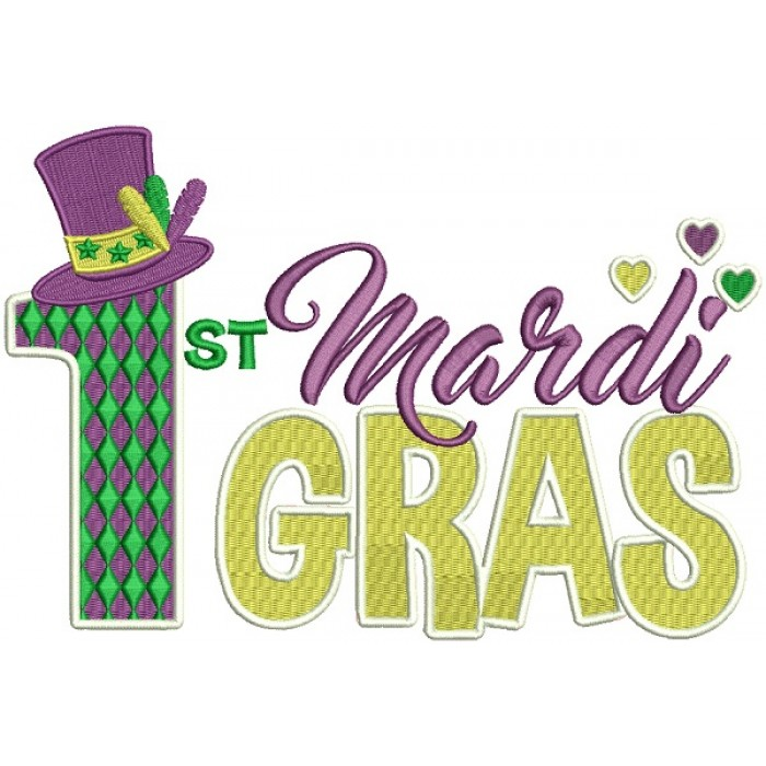 First Mardi Gras With a Hat Filled Machine Embroidery Design Digitized Pattern