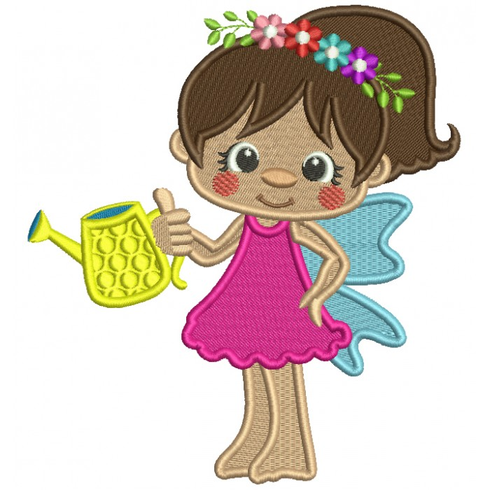 Flower Fairy Watering Plants Filled Machine Embroidery Design Digitized Pattern