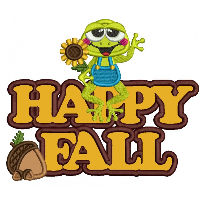 Froggy With Sunflower Happy Fall Applique Machine Embroidery Design Digitized Pattern
