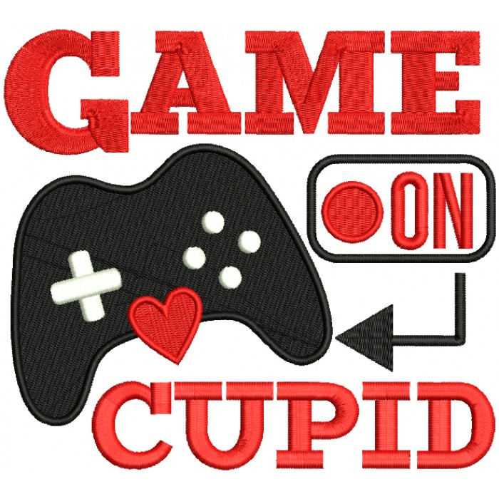 Game On Cupid Valentine's Day Filled Machine Embroidery Design Digitized Pattern