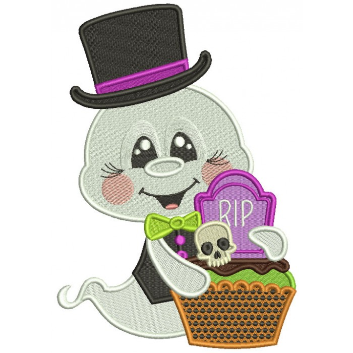 Ghost With Big Hat Holding Halloween Basket Filled Machine Embroidery Design Digitized Pattern