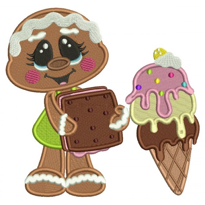 Gingerbread Girl Holding Ice Cream Filled Machine Embroidery Digitized Design Pattern