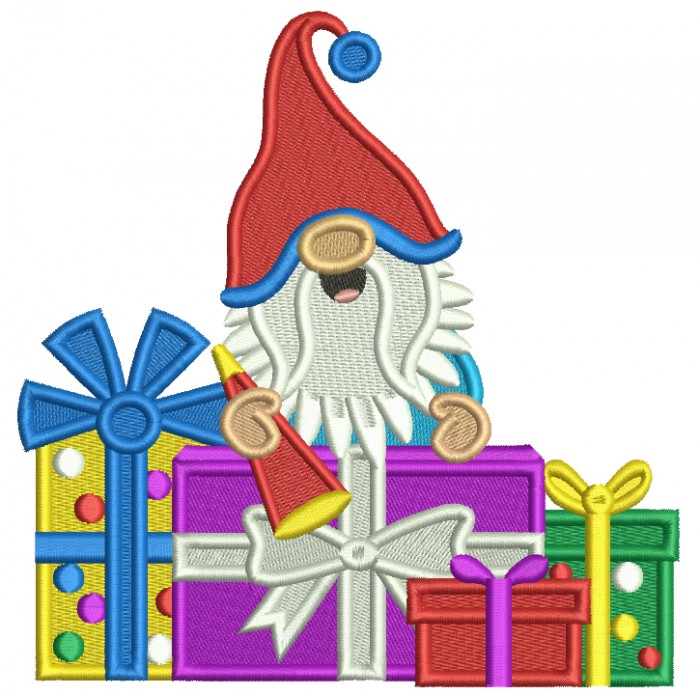 Gnome With a Lot of Birthday Presents Filled Machine Embroidery Design Digitized Pattern