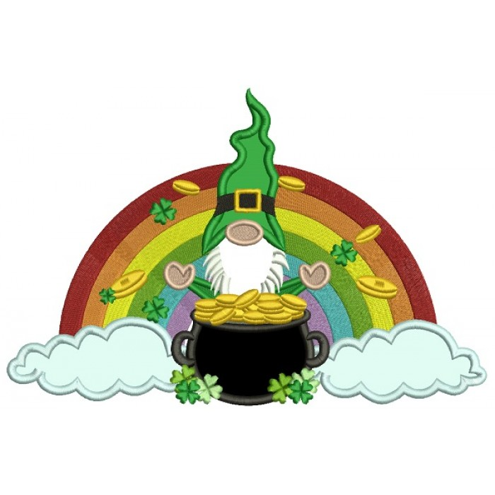 Gnome With a Pot Of Gold In The Clouds With a Rainbow Applique St. Patrick's Day Machine Embroidery Design Digitized Pattern