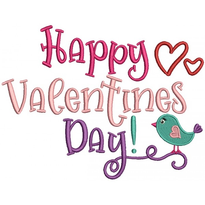 Happy Valentines Day Little Bird Filled Machine Embroidery Design Digitized Pattern