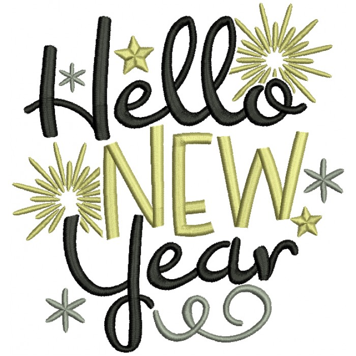Hello New Year Filled Machine Embroidery Design Digitized Pattern