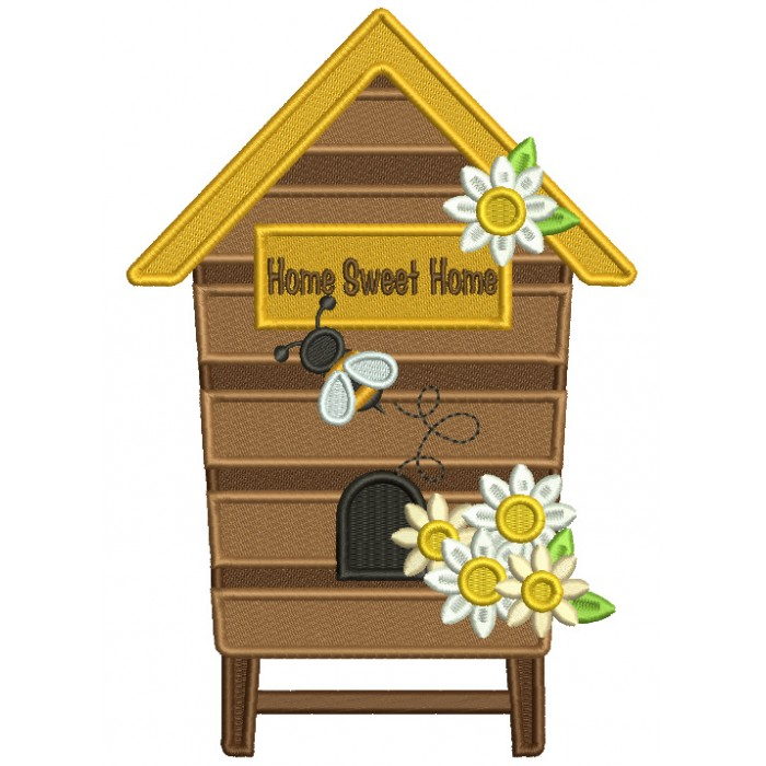 Home Sweet Home Honeycomb Filled Machine Embroidery Digitized Design Pattern