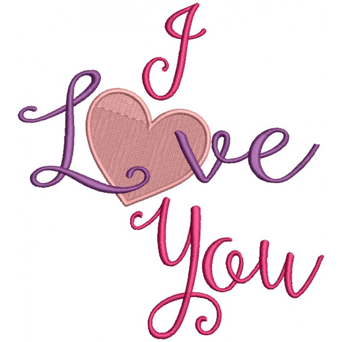I Love You Big Heart Valentine's Day Filled Machine Embroidery Design Digitized Pattern