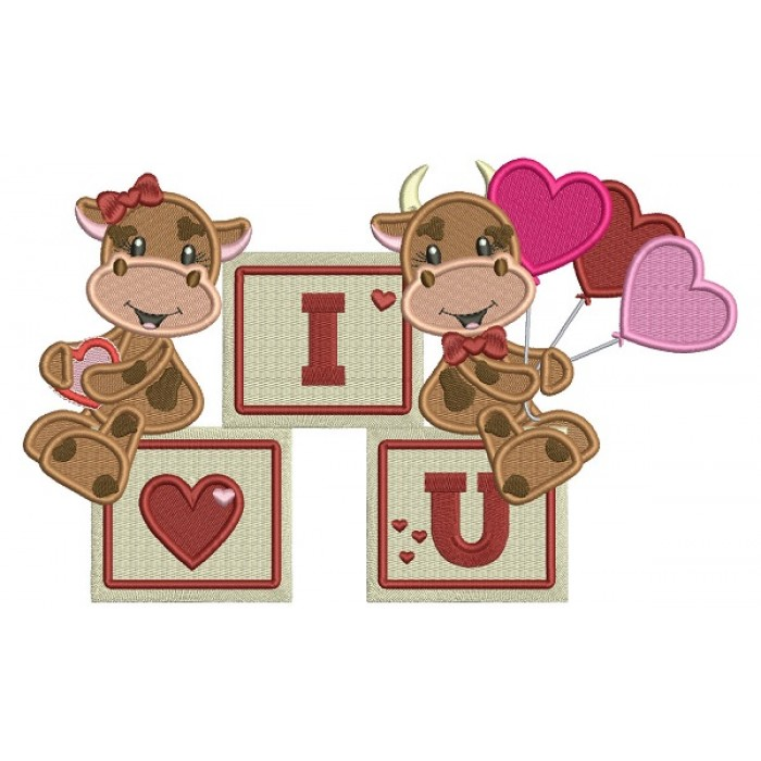 I Love You Two Cute Cows With Hearts Shape Balloons Filled Machine Embroidery Design Digitized Pattern