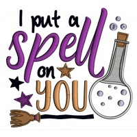 I Put a Spell On You Witch Broom Halloween Applique Machine Embroidery Design Digitized Pattern