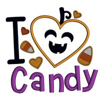 I love Candy Smiling Candy Corn Halloween Applique Machine Embroidery Design Digitized Pattern