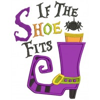 If The Shoe Fits Little Spider Applique Halloween Machine Embroidery Design Digitized Pattern