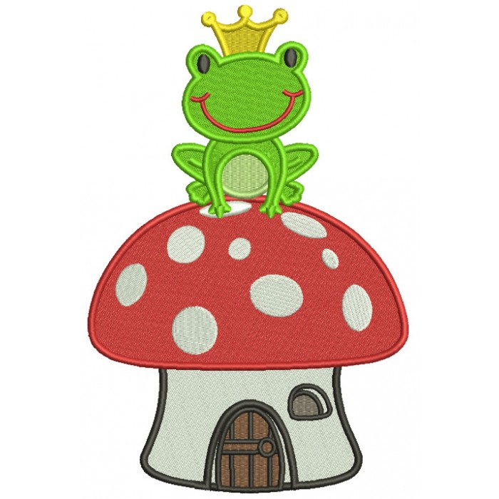 King Frog Sitting On a Mushroom House Filled Machine Embroidery Design Digitized Pattern