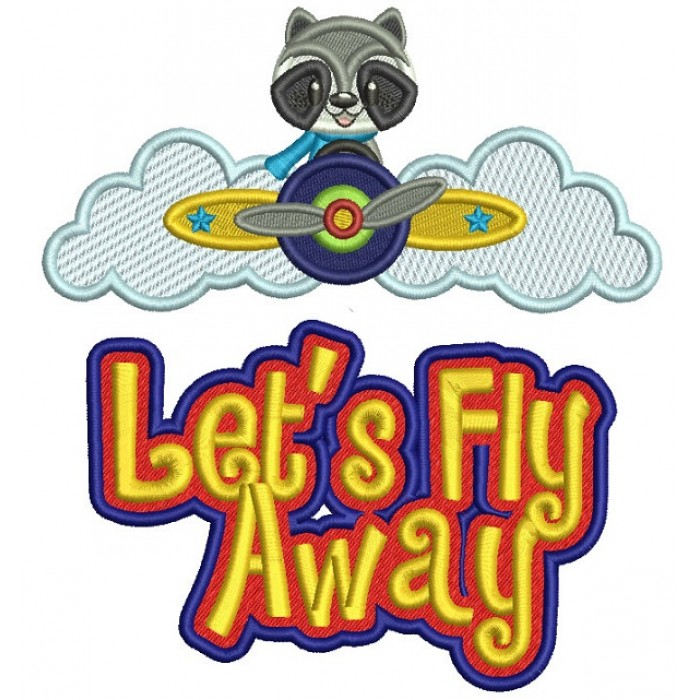 Let's Fly Away Little Racoon Pilot Filled Machine Embroidery Design Digitized Pattern