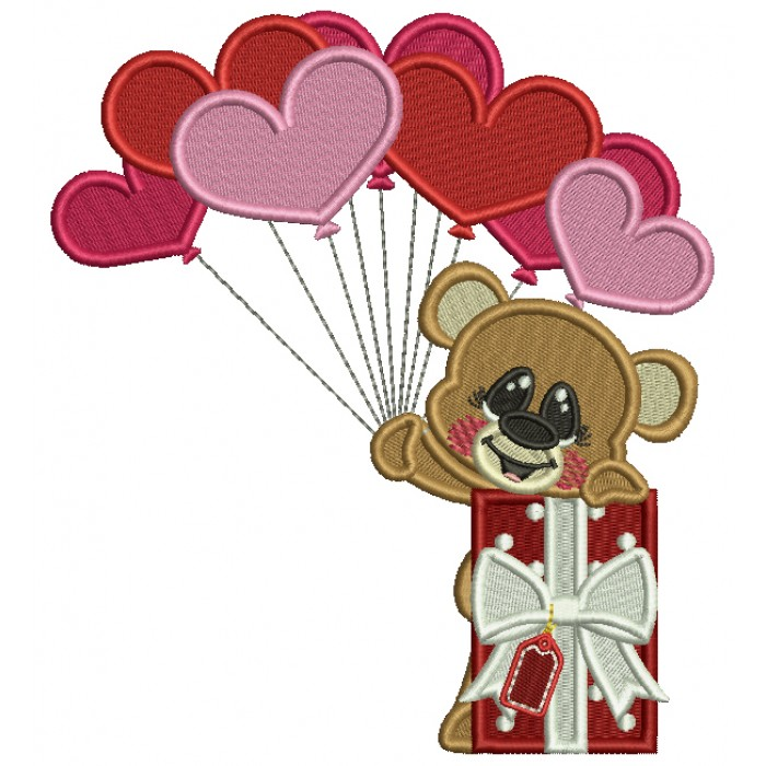 Little Bear Holding Heart Shaped Balloons Next To Gift Box Filled Machine Embroidery Design Digitized Pattern