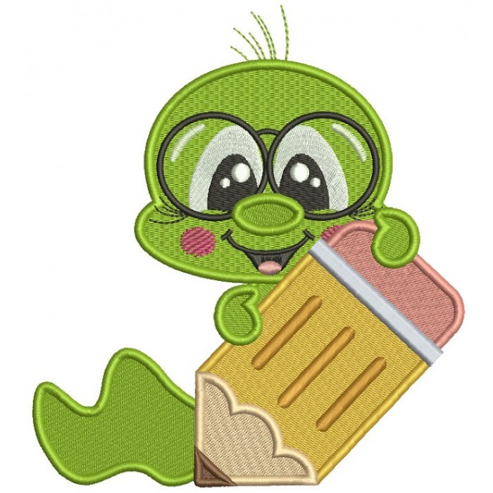 Little Book Worm Holding a Pencil School Filled Machine Embroidery Design Digitized Pattern