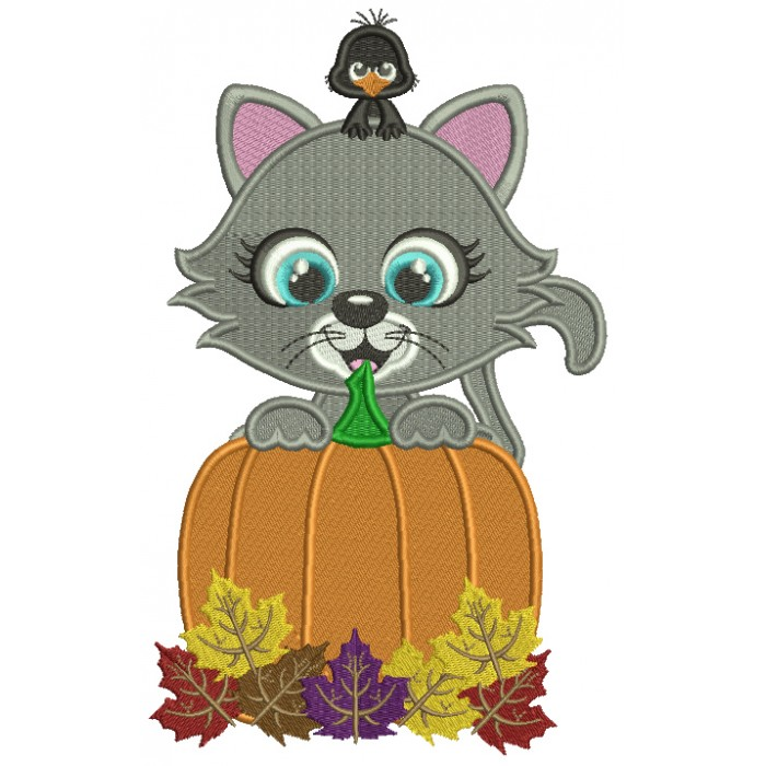 Little Cat Behind a Huge Pumpkin With a Cute Crow Fall Filled Thanksgiving Machine Embroidery Design Digitized Pattern